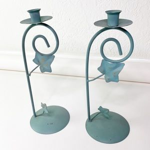 2 Vintage Waccamaw Grapevine Green Candleholders